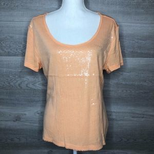 Orange Sequin Top by H&M Size Medium